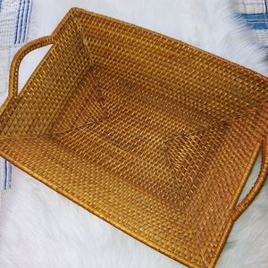 Other - Vintage Rattan Wicker Tray Handles 18x14